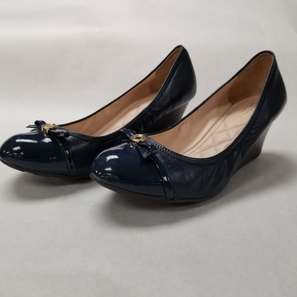 Cole Haan Shoes   Navy Wedge Pump Wbow